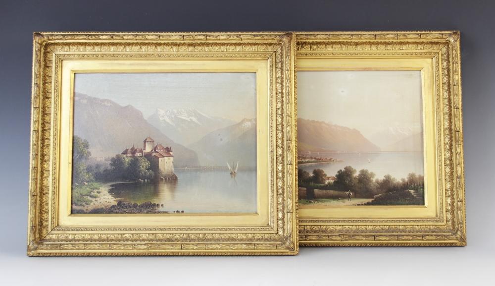 Italian School (late 19th century), Landscape views of Lombardy, Oil on board, 23cm x 29.5cm, Each - Image 3 of 3