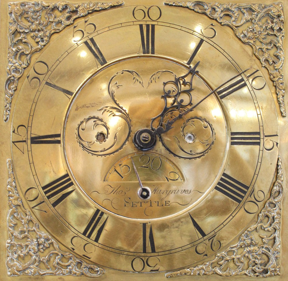 A George III oak and mahogany cross banded thirty hour longcase clock by 'Thomas Hargraves, Settle',