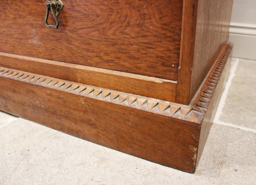 A late 19th century oak Aesthetic movement chest of drawers, the quarter veneered pollard oak top - Image 3 of 3