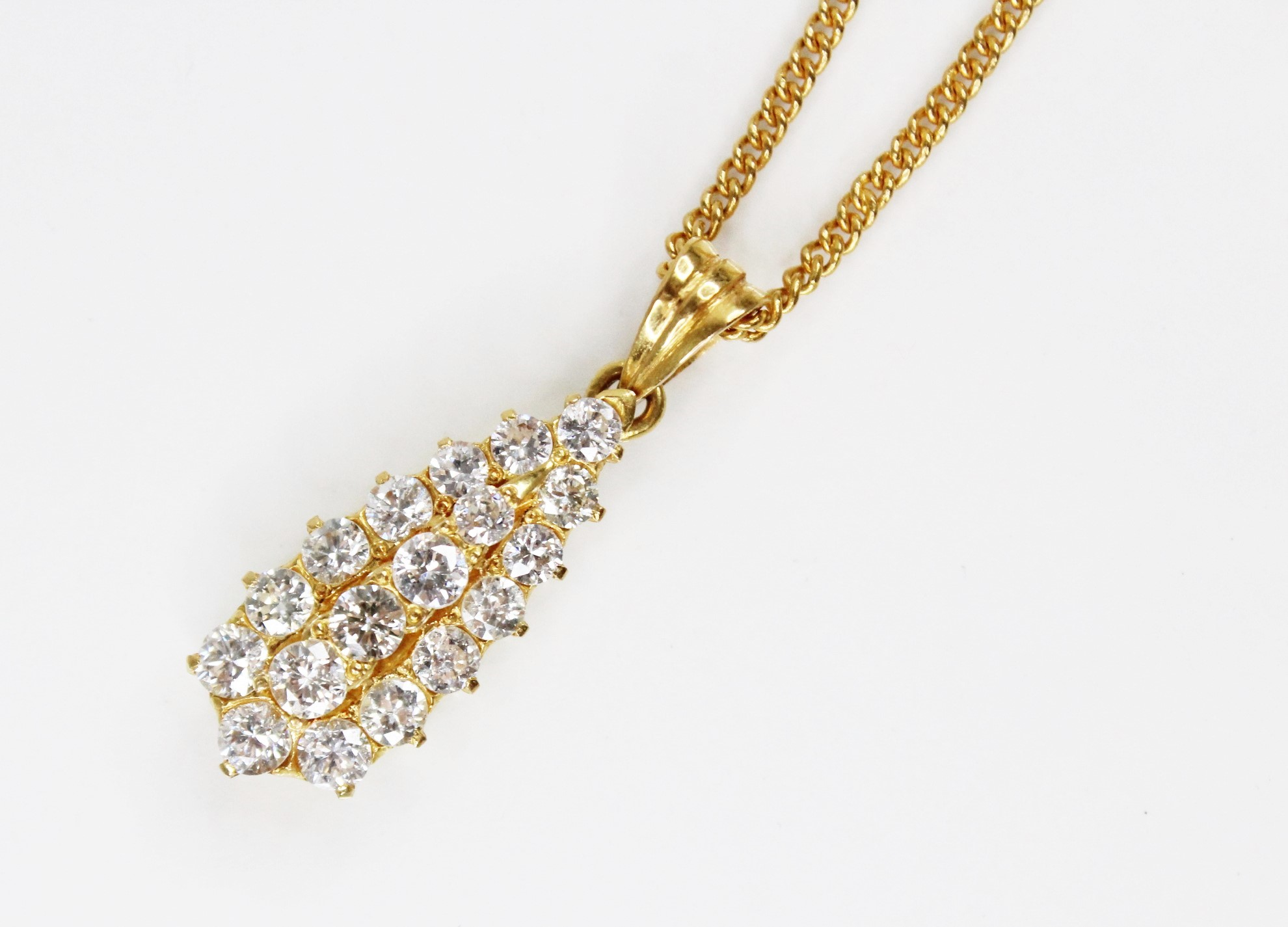 A diamond teardrop pendant, comprising eighteen round brilliant cut diamonds, (estimated diamond - Image 3 of 6