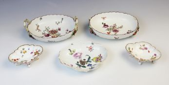 Two Chelsea 'Hans Sloane' type botanical sweetmeat baskets, late 18th century, each decorated