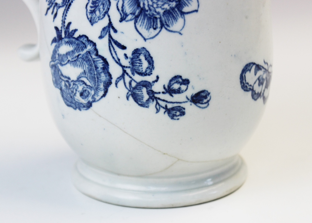 A Lowestoft blue and white mug of large proportions, late 18th century c.1770, printed with - Image 4 of 5