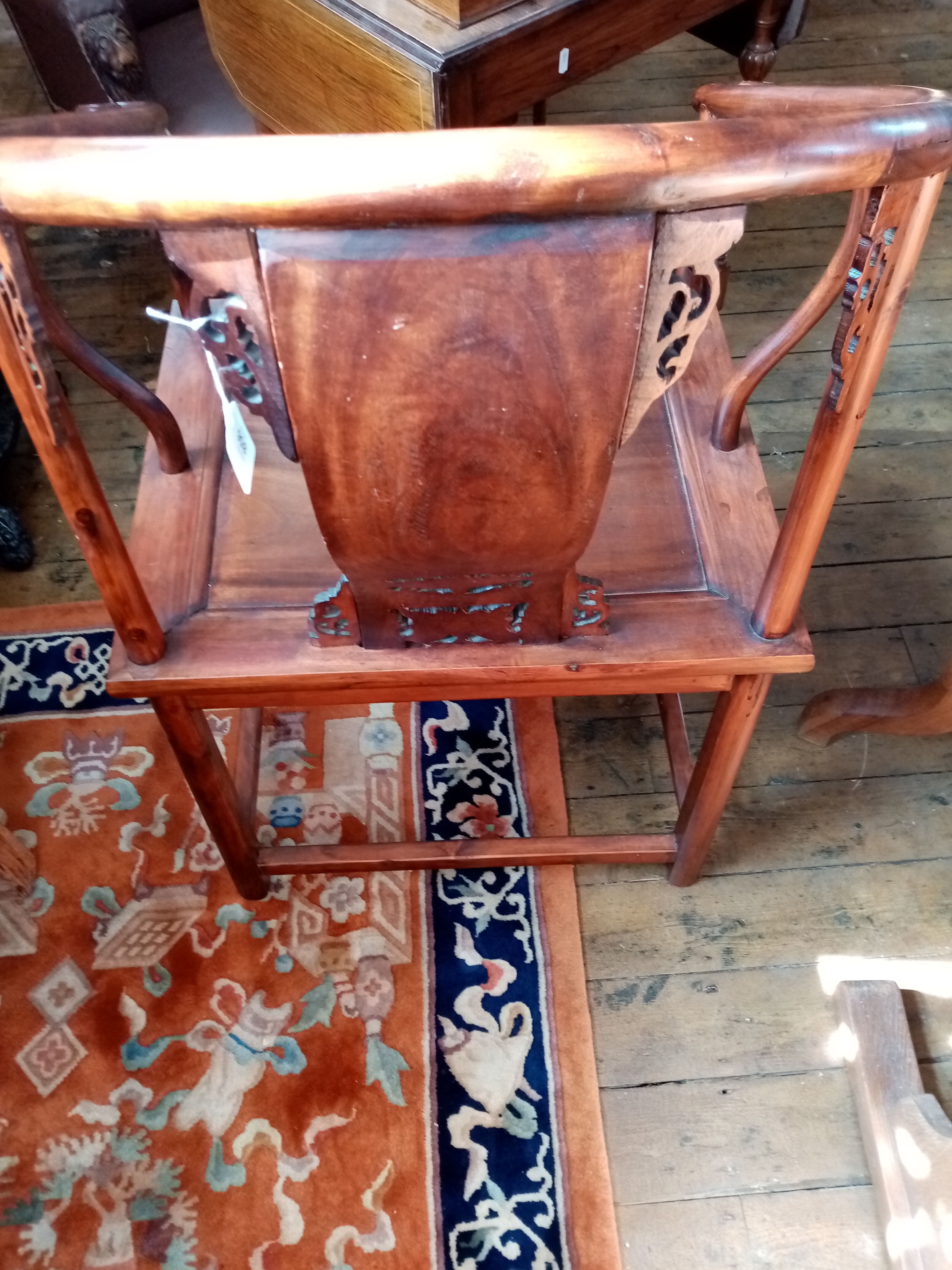 A Chinese stained wood altar chair, 20th century, the horse shoe shaped top rail with scrolled - Image 4 of 5