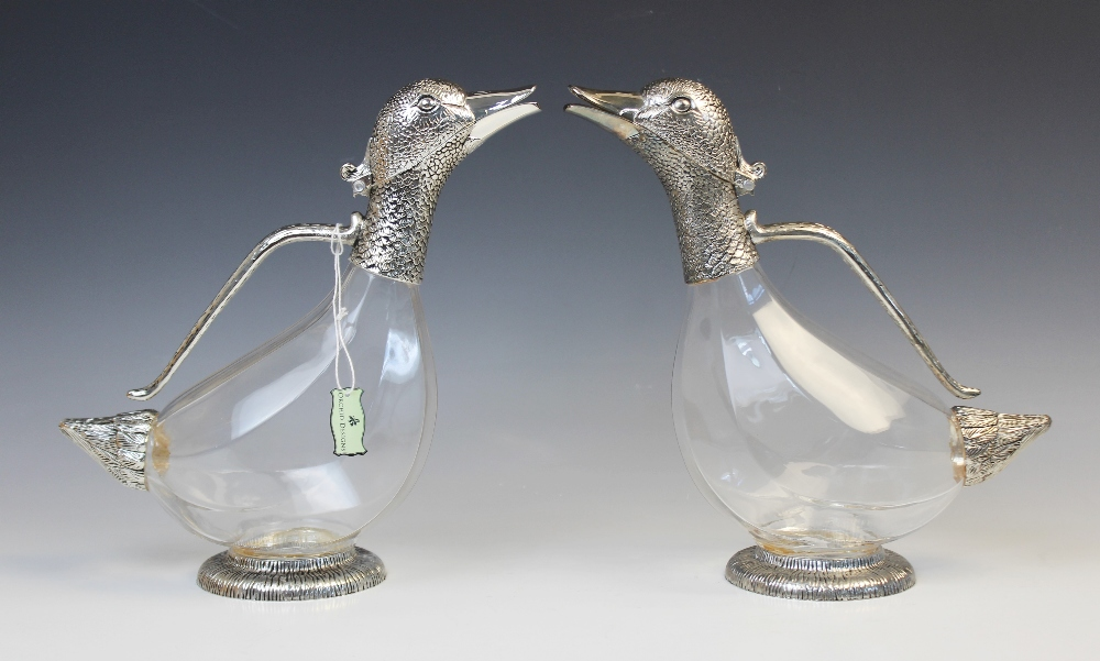 A white metal mounted Orchid Designs claret jug, late 20th century, naturalistically modelled as a - Image 3 of 6