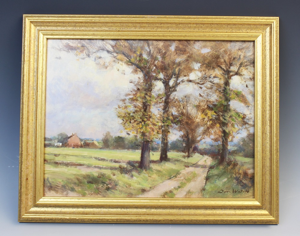 Owen Waters (1916-2004), 'Farm Road, Beighton, Norfolk', Oil on board, Signed lower right, titled - Image 2 of 4
