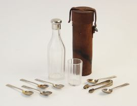 A cut glass white metal mounted hunting flask, of faceted cylindrical form with screw lid, 18cm