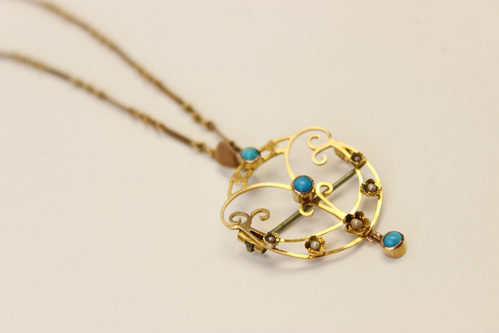 An Edwardian turquoise and seed pearl set pendant/brooch, the unmarked yellow metal open work - Image 5 of 5