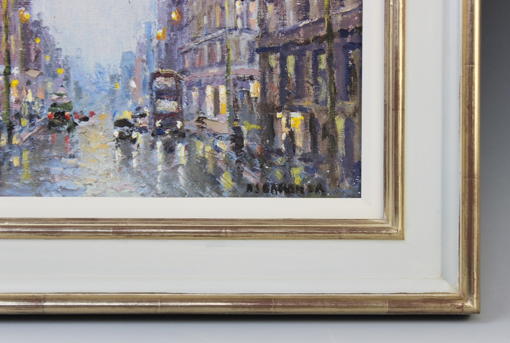 Reg Gardner (British b.1948), 'Deansgate (January Storm)', Oil on canvas, Signed lower right, 24cm x - Image 3 of 4