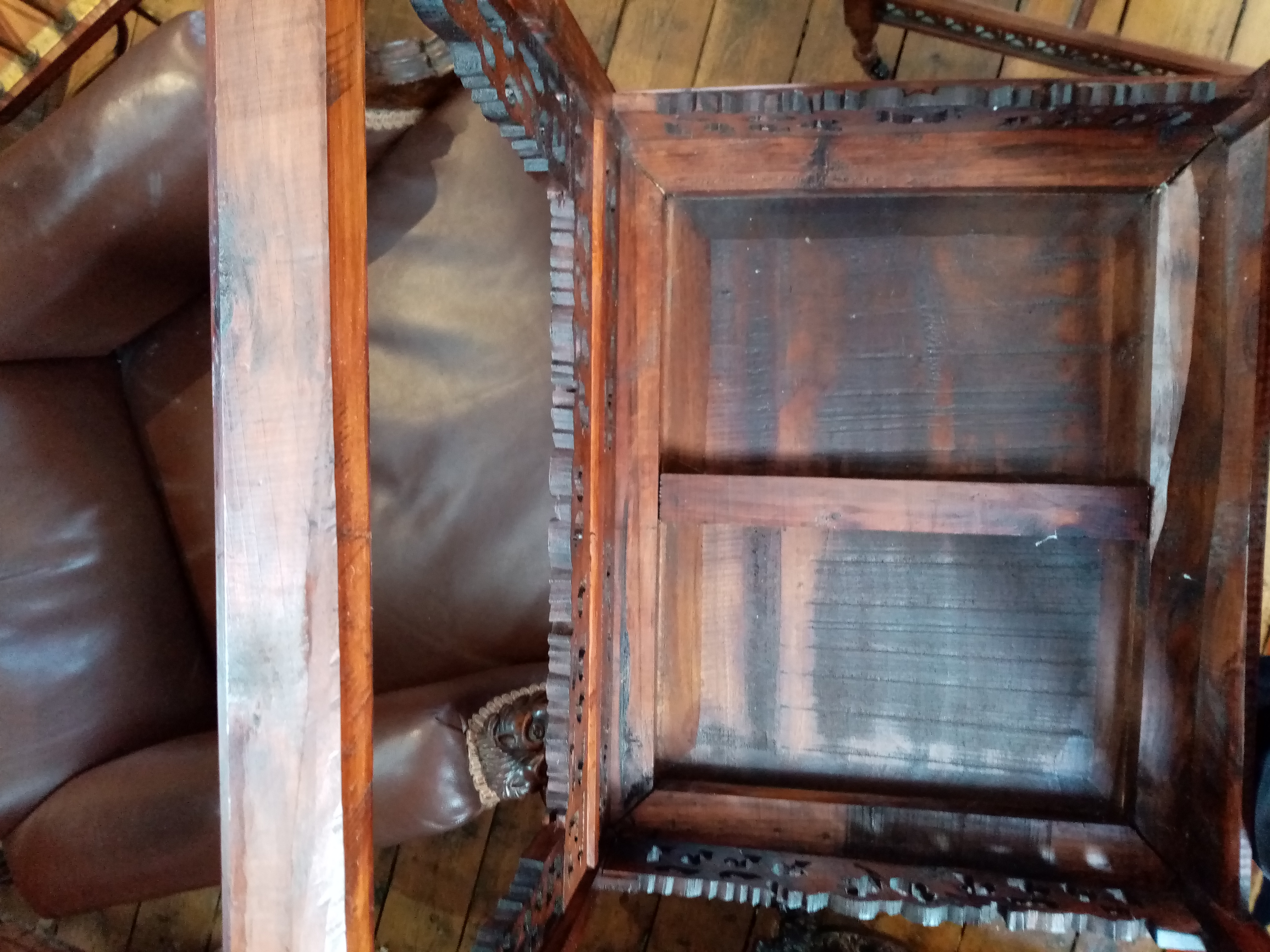 A Chinese stained wood altar chair, 20th century, the horse shoe shaped top rail with scrolled - Image 5 of 5