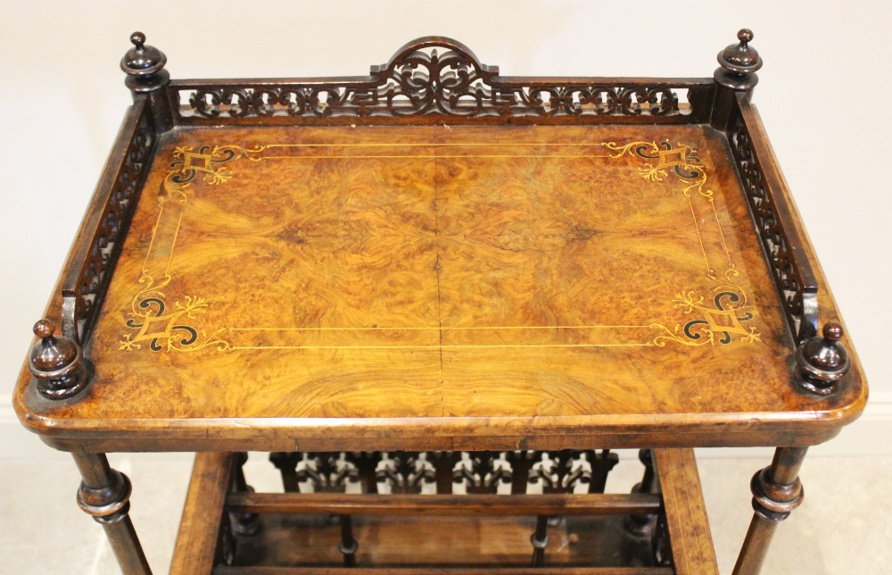 A Victorian burr walnut etagere Canterbury, the quarter veneered rectangular top with an open work - Image 2 of 4
