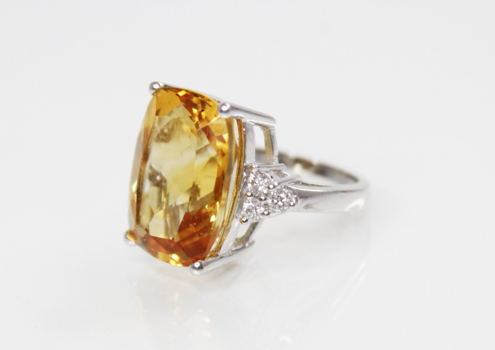 A citrine and diamond 18ct gold ring, the central rectangular mixed cut citrine (measuring 18mm L - Image 2 of 3