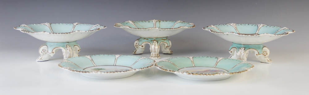A Victorian topographical dessert service in the manner of Coalport, comprising; three tripod - Image 2 of 3