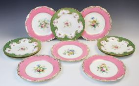 Five Coalport porcelain cabinet plates, 19th century, each with shaped rim, apple green ground and