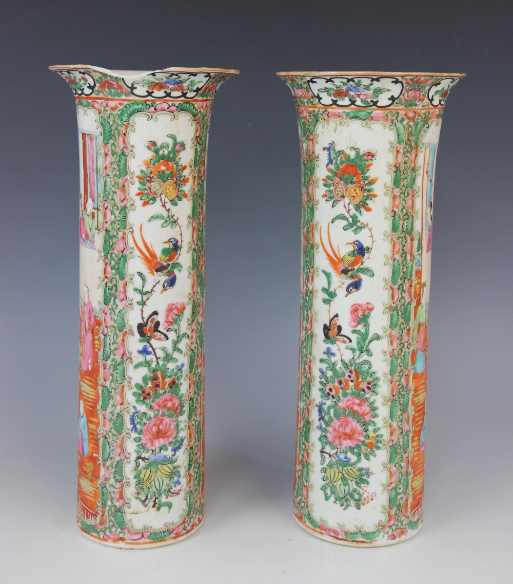 A pair of Chinese Canton vases, 19th century, each of cylindrical sleeve form and decorated in - Image 3 of 4