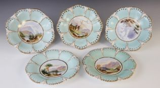 A Victorian topographical dessert service in the manner of Coalport, comprising; three tripod
