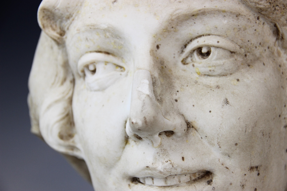 An Art Deco marble sculpture of a female head, early 20th century, set above a grey marble plinth, - Image 4 of 5