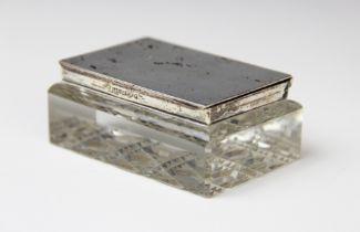 An Edwardian cut glass silver mounted stamp box by Levi & Solomon, Birmingham 1905, of rectangular
