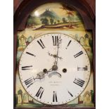 A 19th century mahogany eight day longcase clock by 'Hummel, Derby', the 33cm painted break arch