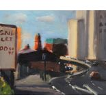 Liam Spencer (Contemporary British, b1964), 'Mancunian Way + Refuge Tower' (1997), Oil on board,