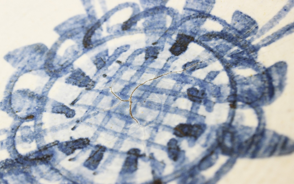 An Agnete Hoy studio pottery bowl, 20th century, the stoneware bowl decorated with blue abstract - Image 6 of 6