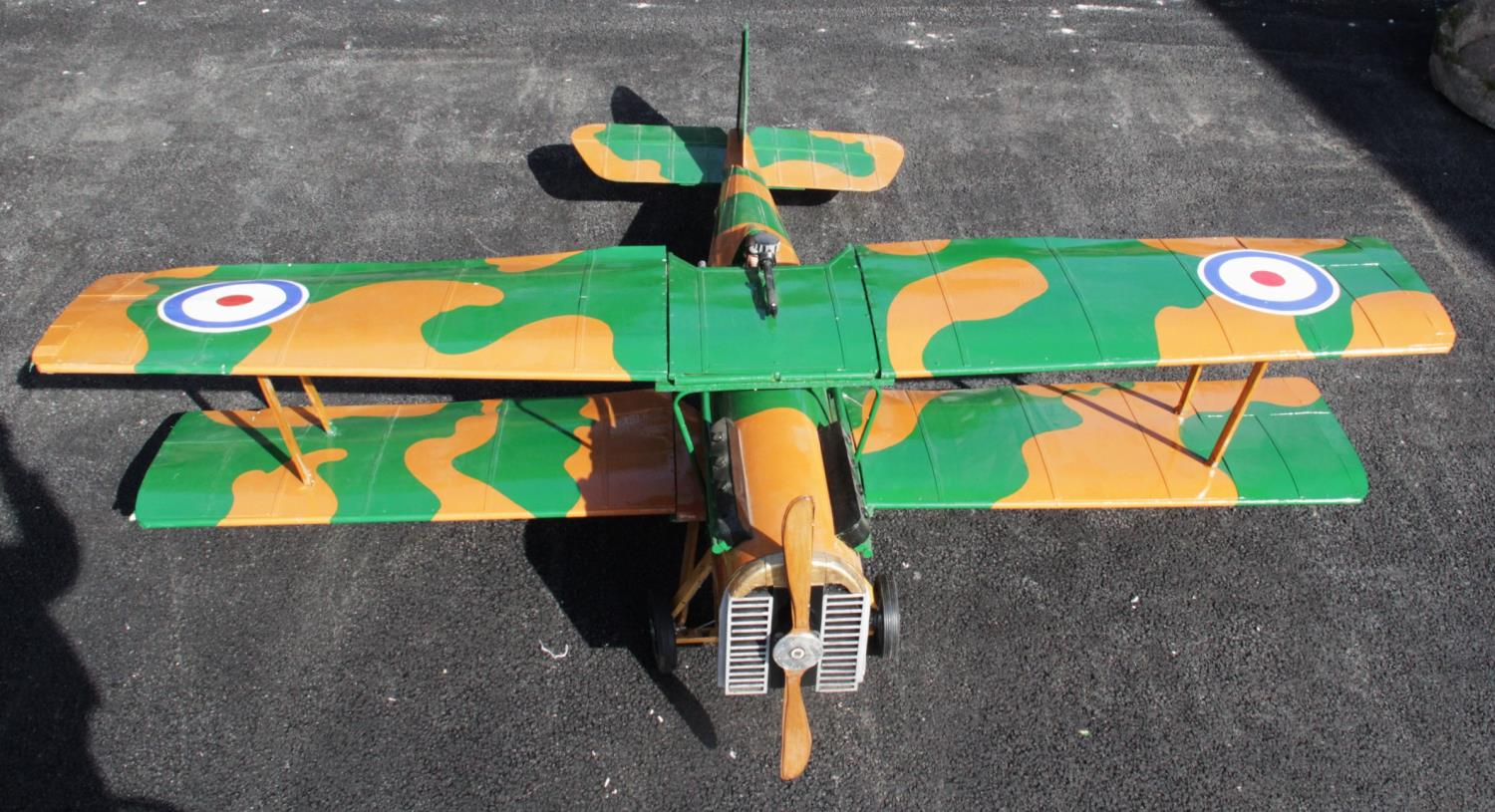 WORLD WAR I INTEREST: A large scratch-built ¼ scale model of a Royal Aircraft Factory SE5a fighter - Image 2 of 5