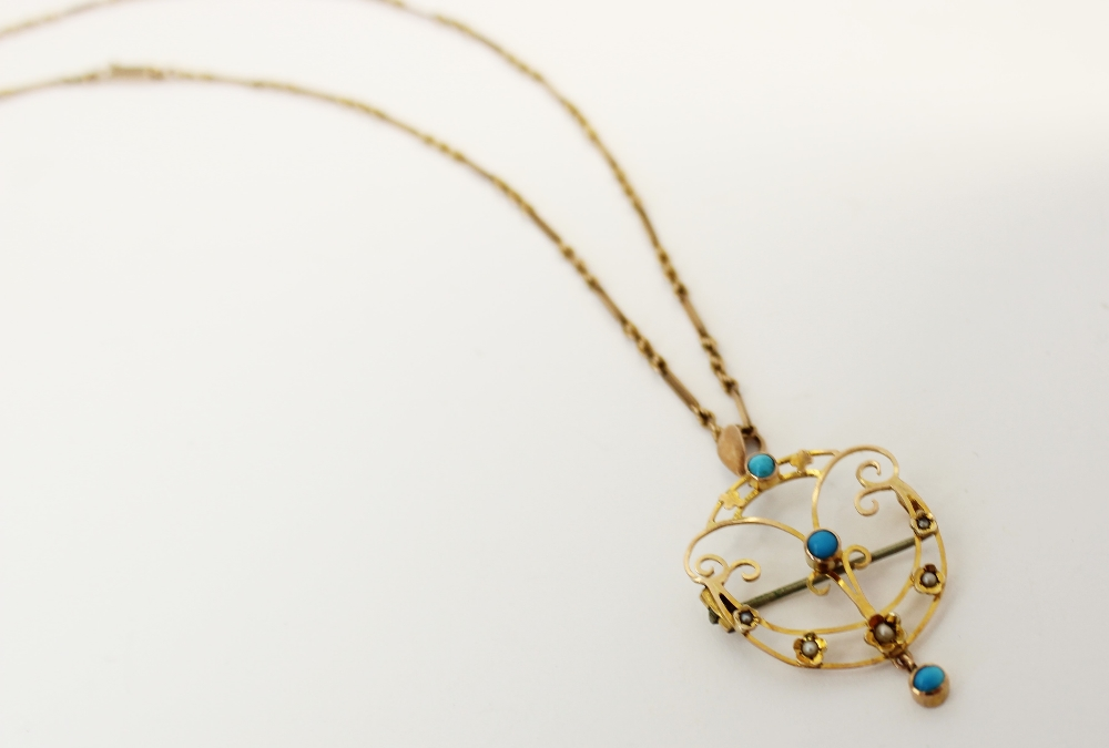 An Edwardian turquoise and seed pearl set pendant/brooch, the unmarked yellow metal open work - Image 4 of 5