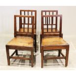 A set of six fruitwood country chairs, early 19th century, each with a reeded rail back above