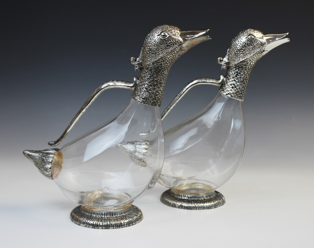 A white metal mounted Orchid Designs claret jug, late 20th century, naturalistically modelled as a - Image 5 of 6