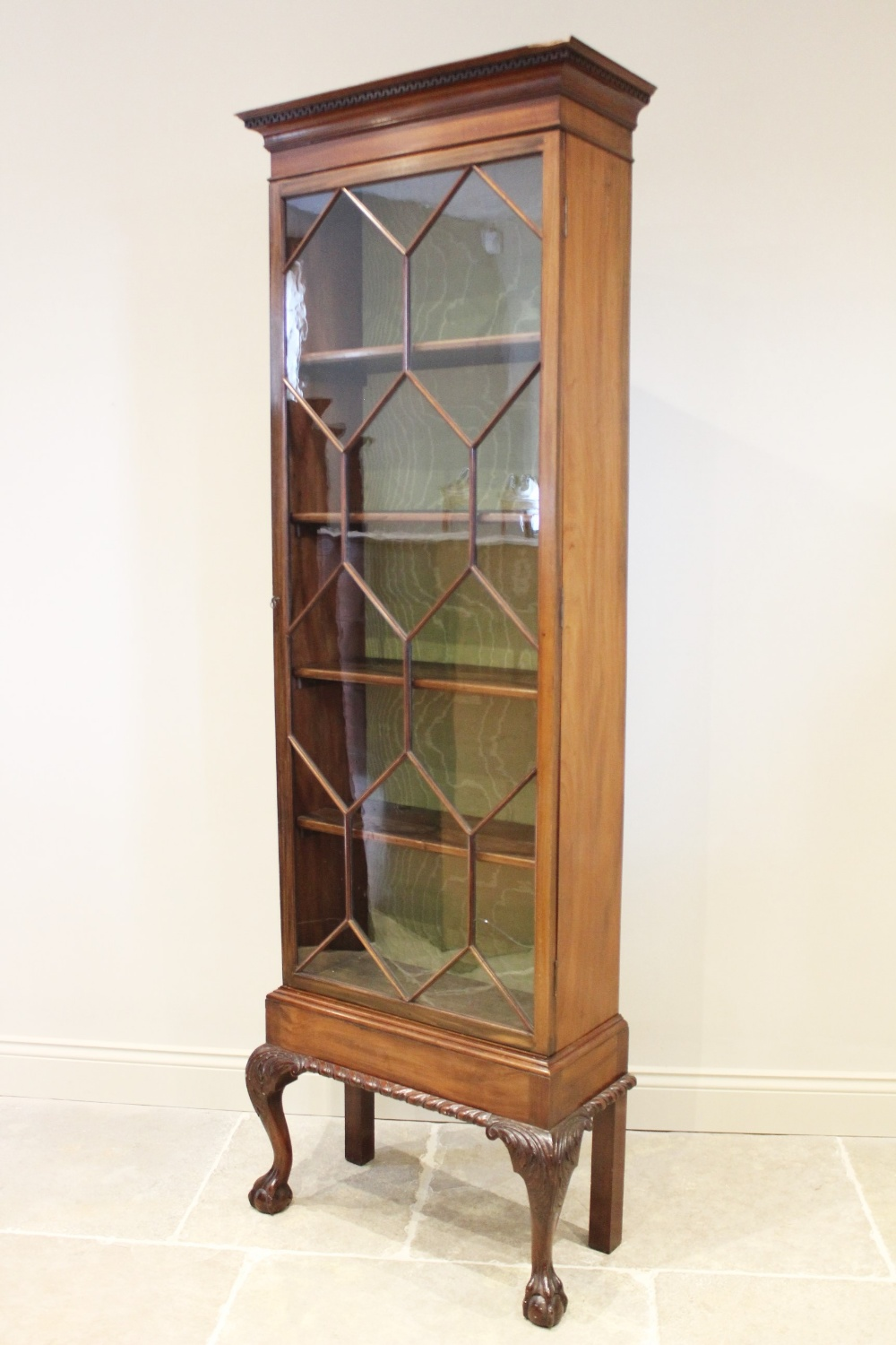 An early 20th century Chippendale revival mahogany display cabinet, with a Greek key pattern - Image 2 of 2