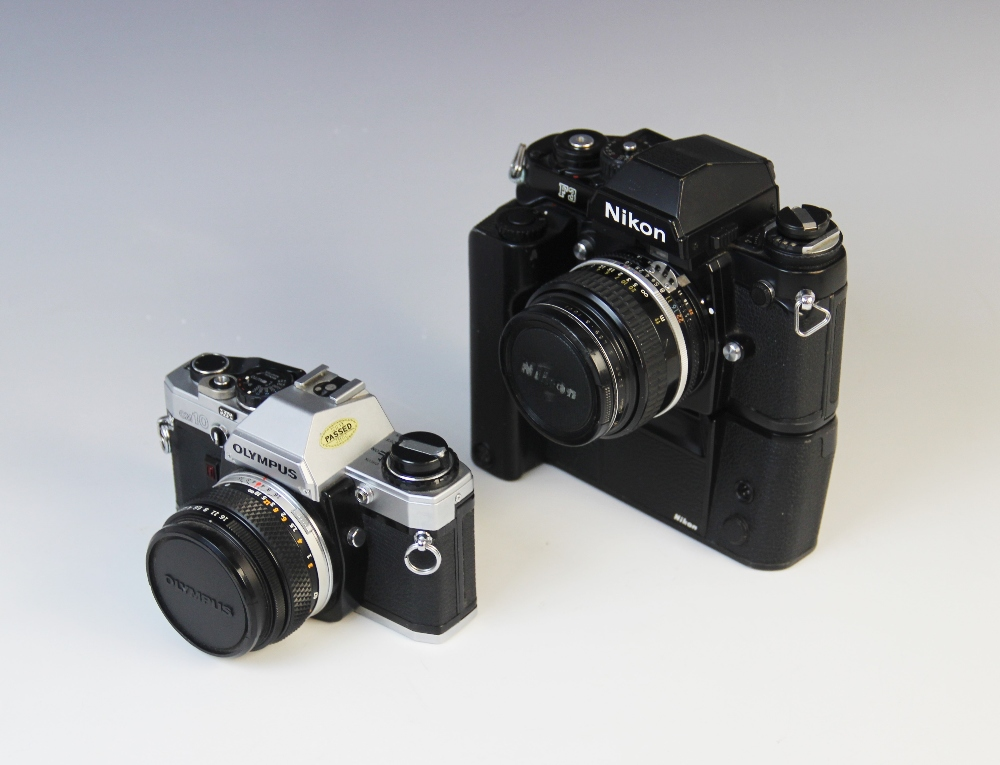 A Nikon F3 35mm SLR camera serial number 1823249, mid 20th century, fitted with a Nikkor 50mm 1:1.