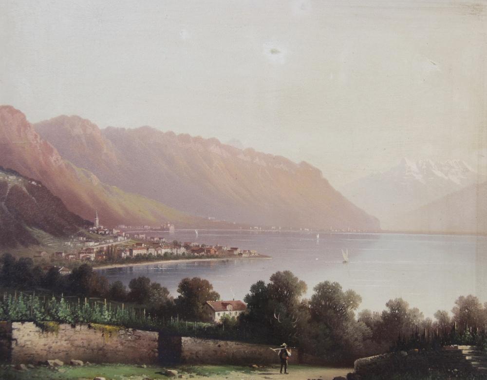 Italian School (late 19th century), Landscape views of Lombardy, Oil on board, 23cm x 29.5cm, Each - Image 2 of 3