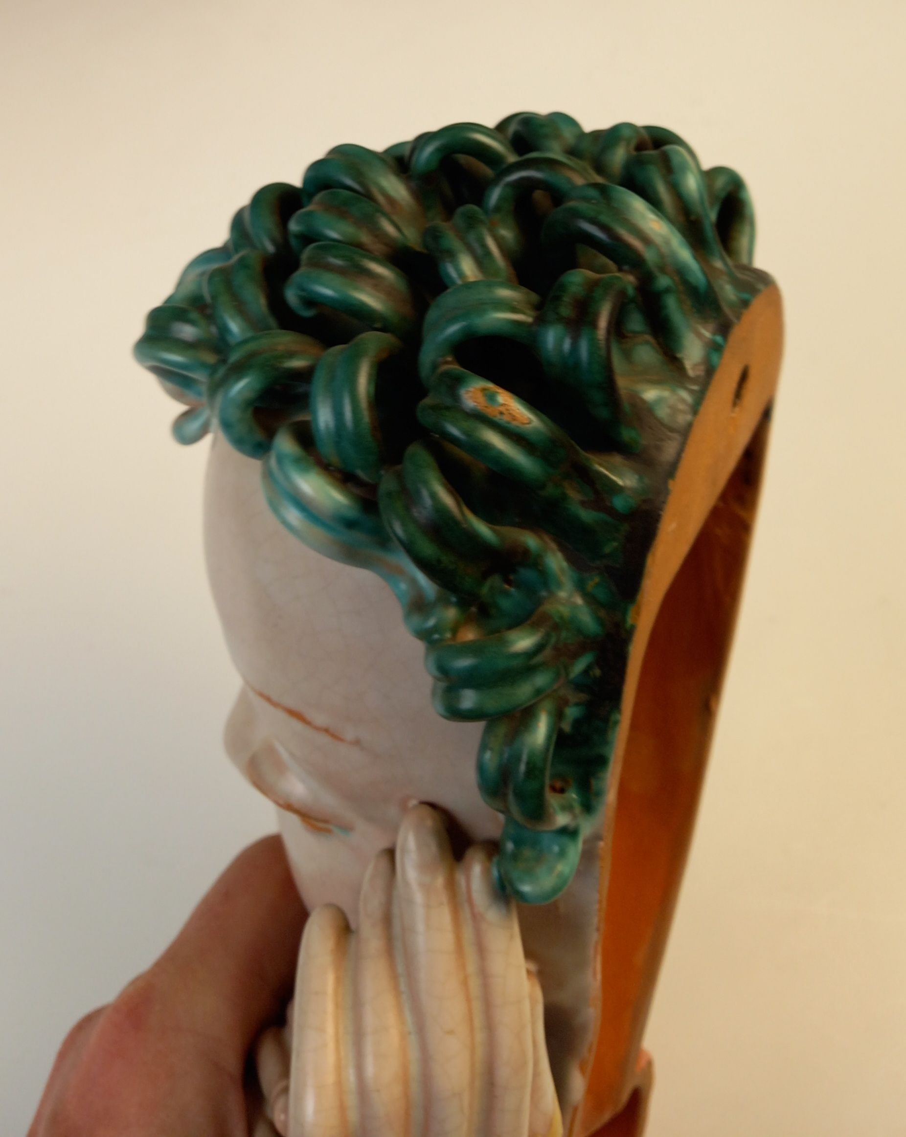 An Art Deco Goldscheider wall mask, early 20th century, modelled as a lady with blue curled hair and - Image 9 of 9