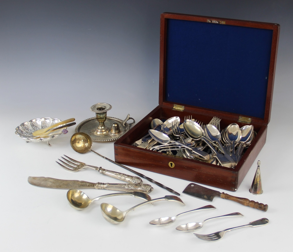 A selection of silver plated, white metal and EPNS cutlery and tableware, to include a quantity of