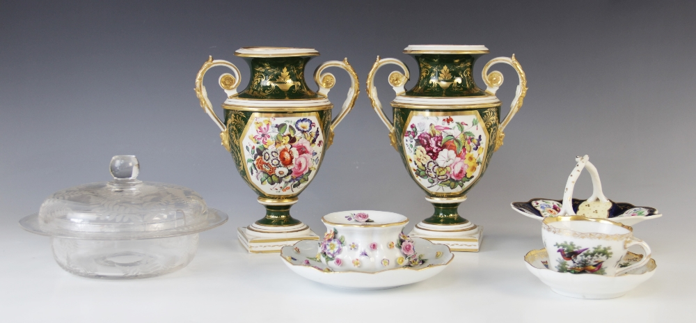 A pair of campana urns in the manner of Bloor Derby, 19th century, each decorated with a panel