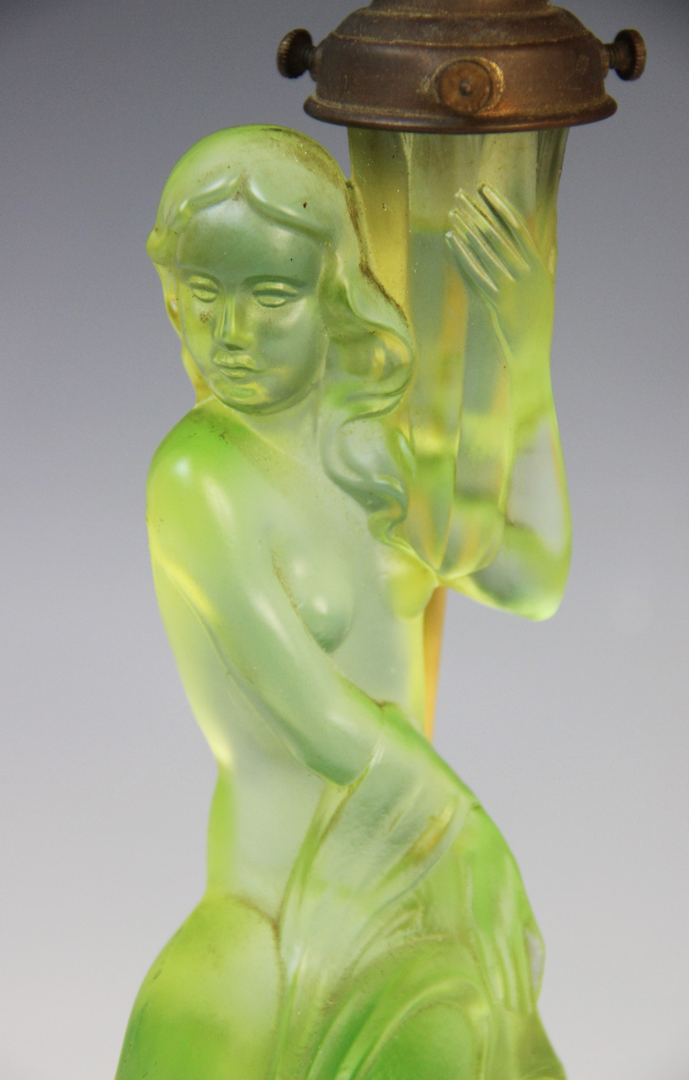An Art Deco green glass table lamp by Walther & Sohne, early 20th century, modelled as a nymph on - Image 2 of 2