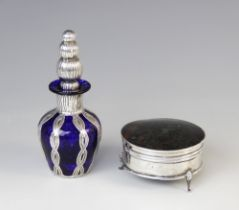 A George V silver and tortoiseshell jewellery box by Adie Brothers, Birmingham 1925, of circular