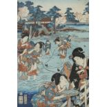 Five Japanese woodblock prints on paper, Ukiyo-e school, mid 19th century, with two early 20th