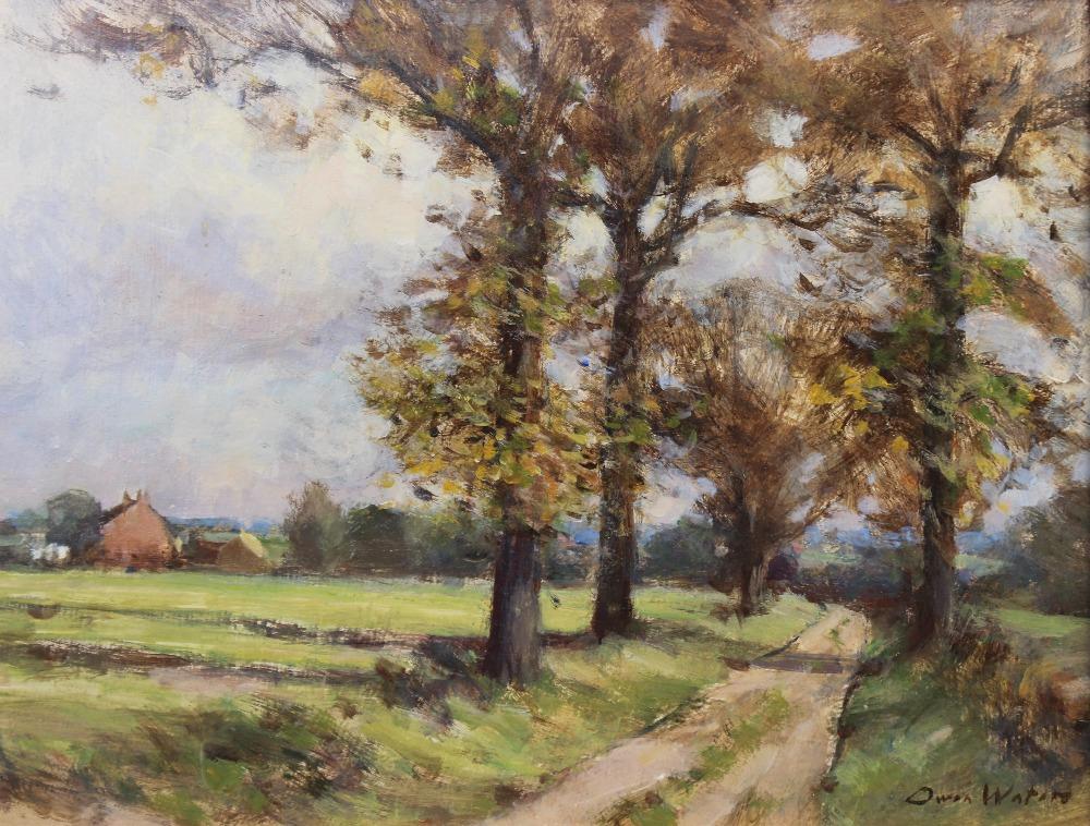 Owen Waters (1916-2004), 'Farm Road, Beighton, Norfolk', Oil on board, Signed lower right, titled