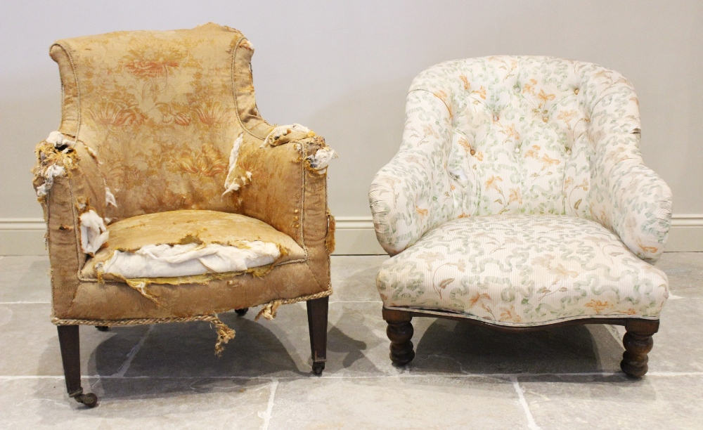 A 19th century tub chair, the shaped back over a bow front seat upon legs of tapering square