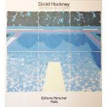 A David Hockney exhibition poster for 'Piscines de Papier' held at Edition Herscher, Paris, in 1980,