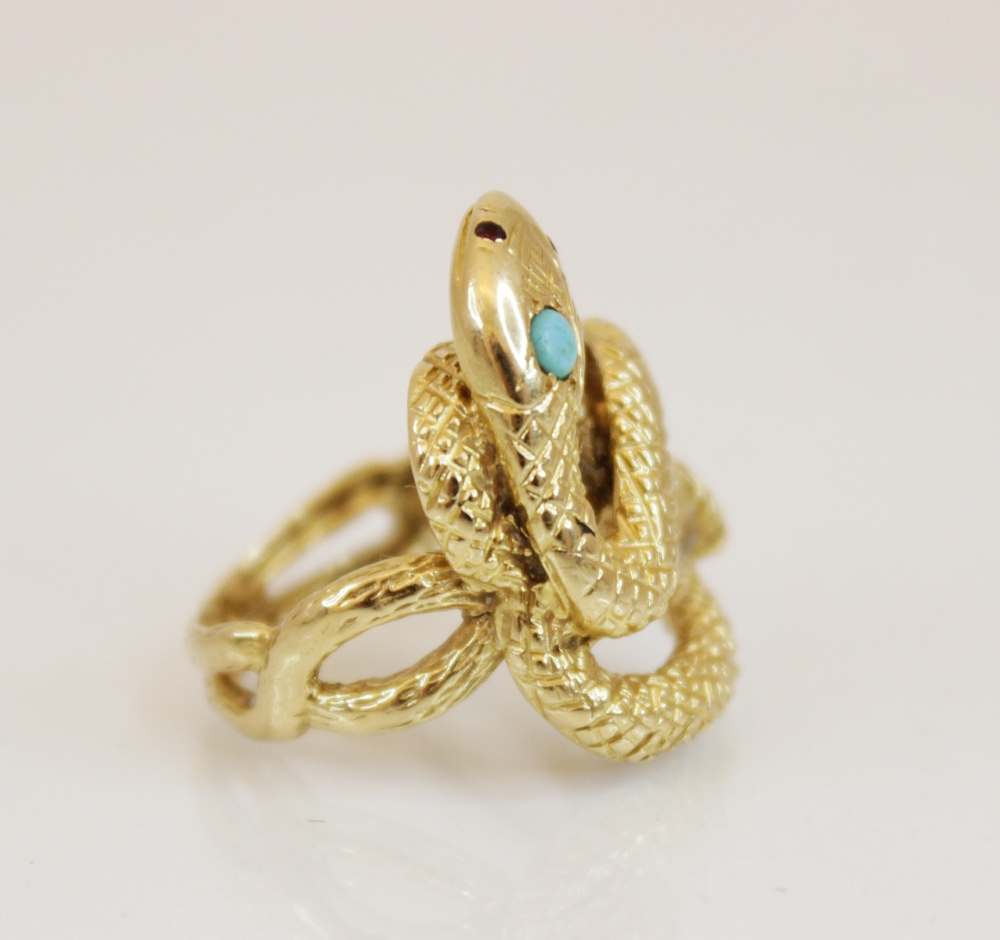 A continental 18ct gold turquoise and ruby set snake ring, the coiled body with engraved decoration, - Image 3 of 4