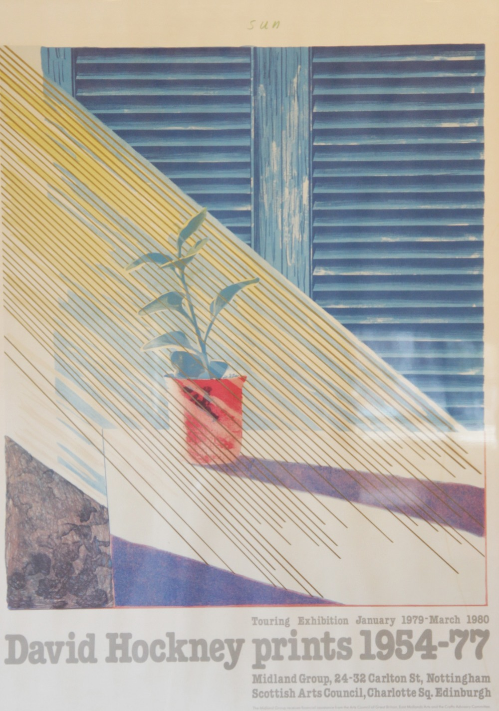 A David Hockney exhibition poster for the 'David Hockney prints 1954-77' touring exhibition held