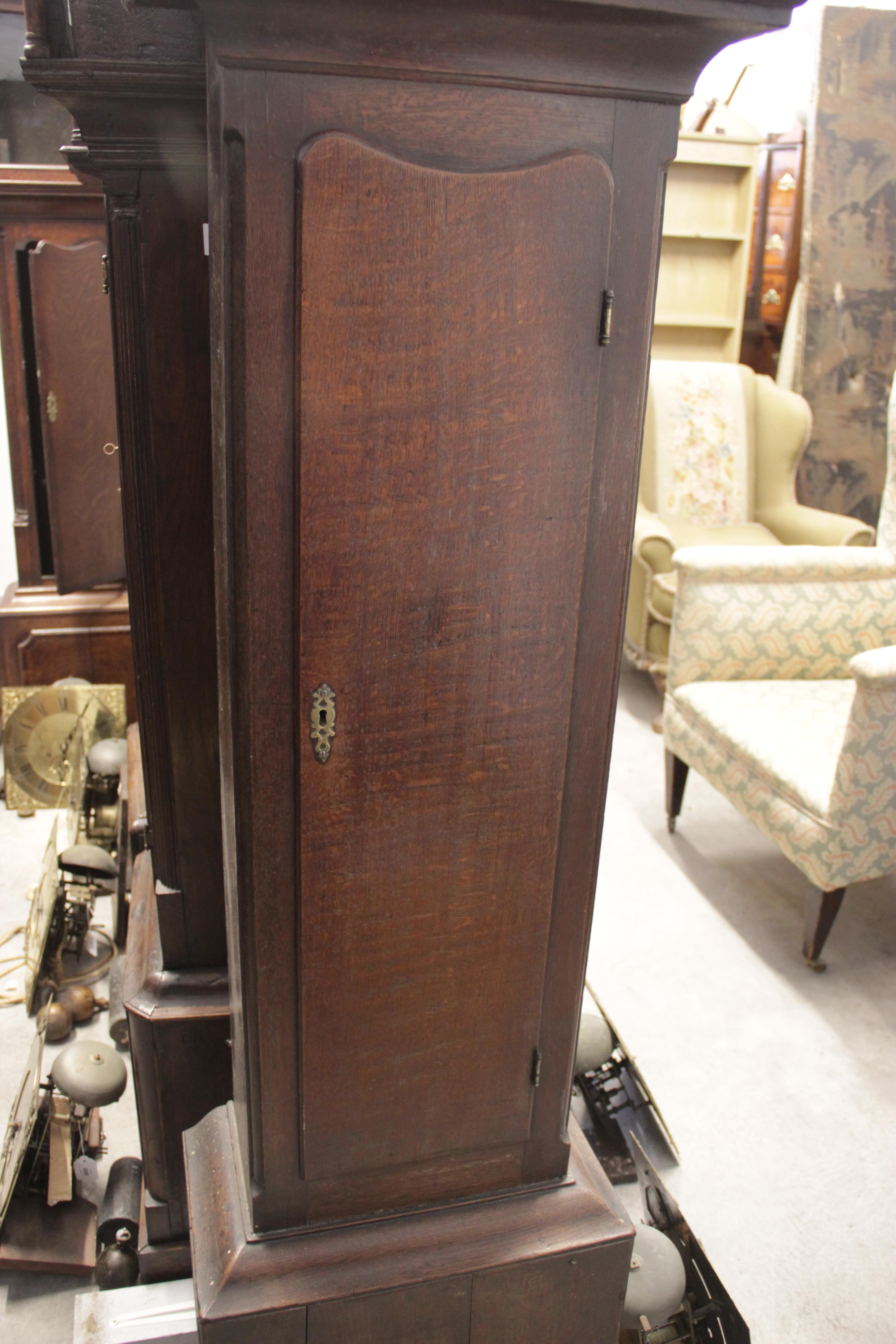 A George III oak cased eight day longcase clock by 'E Courter, Ruthin', the 30cm square brass dial - Image 4 of 4