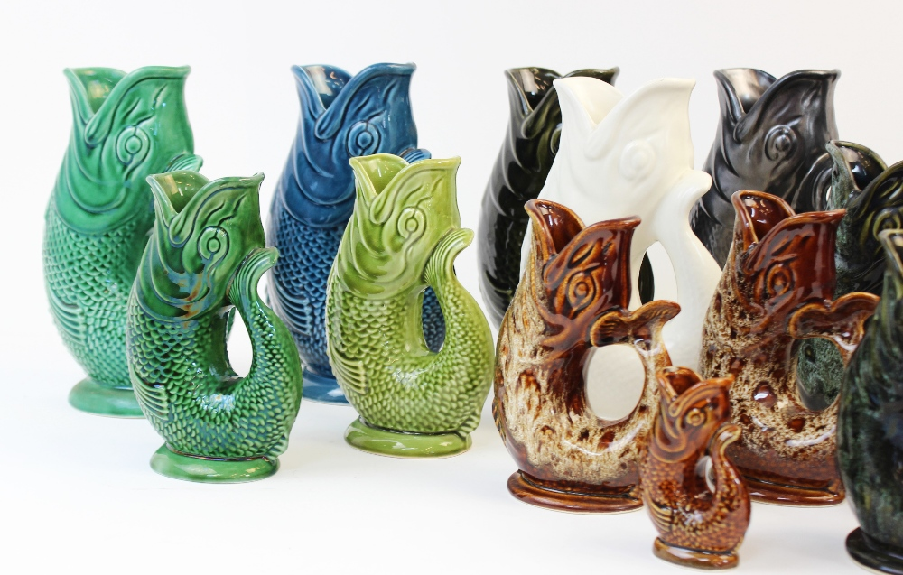 A collection of seven Dartmouth glug jugs of large proportions, each of typical form in various - Image 3 of 4