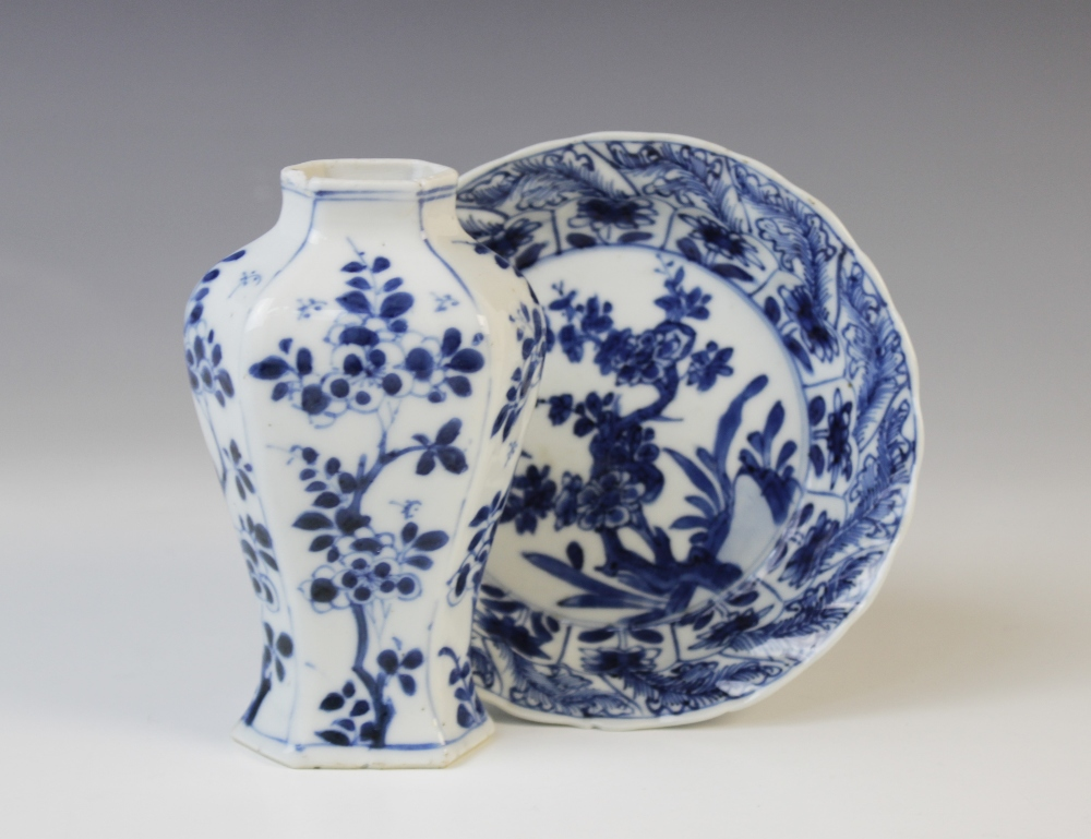 A Chinese porcelain blue and white vase, Kangxi (1661-1722), 12cm high, with a Kangxi blue and white