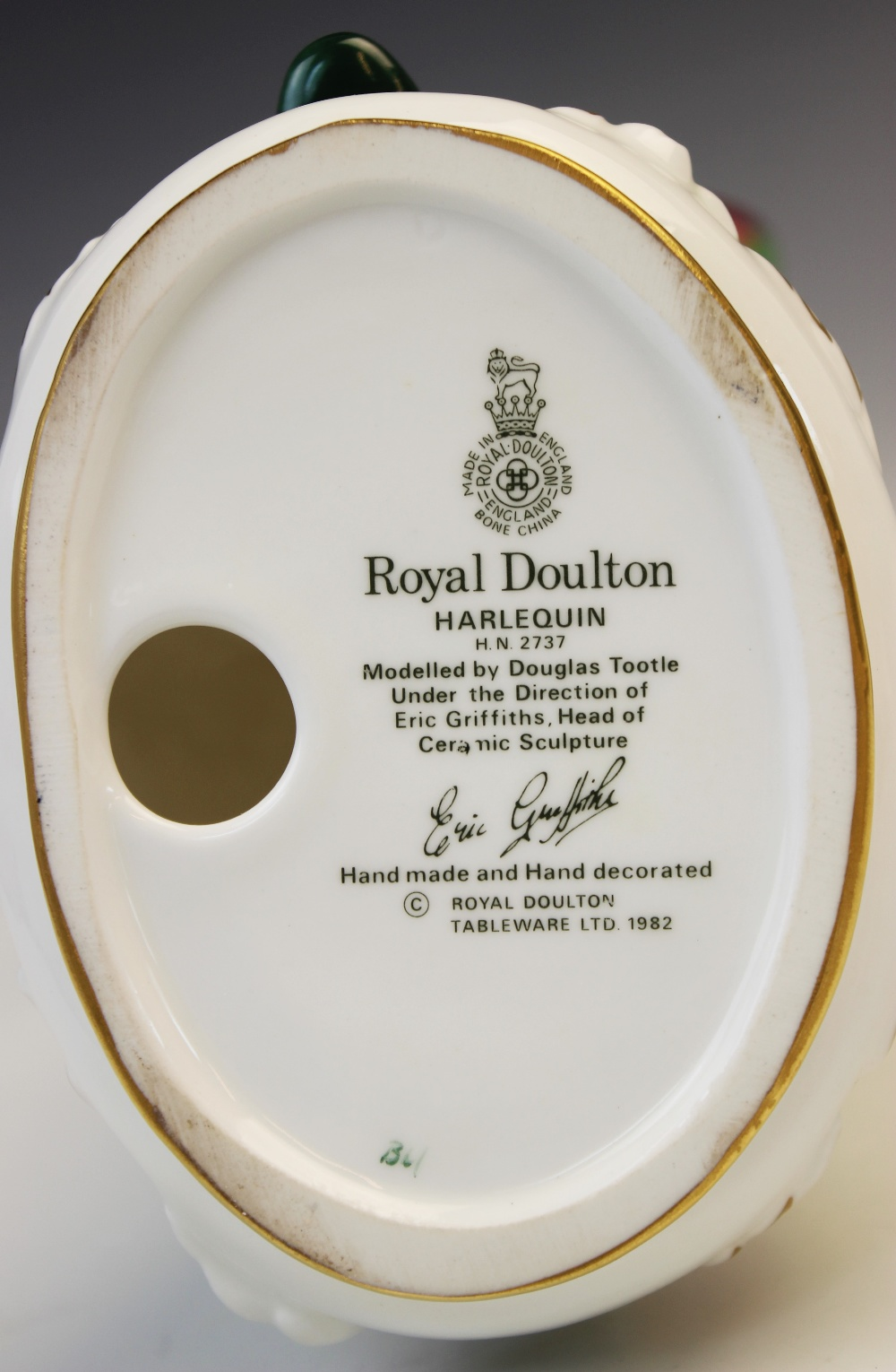 A Royal Doulton HN2737 'Harlequin' figure modelled by Douglas Tootle, printed maker's mark and - Image 2 of 4
