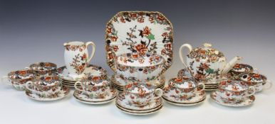 A Copeland Spode tea service in the 'Bertha' floral Imari pattern, late 19th century, comprising;