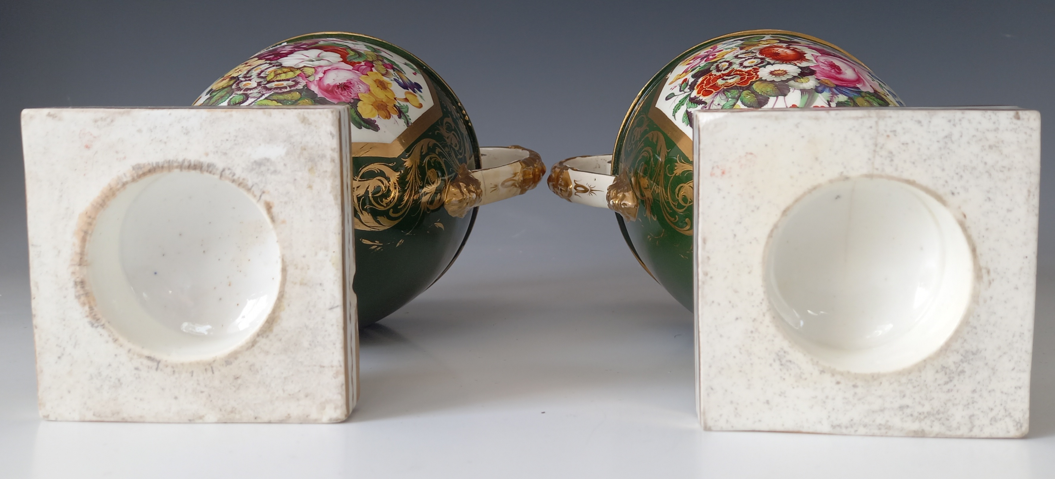 A pair of campana urns in the manner of Bloor Derby, 19th century, each decorated with a panel - Image 7 of 11