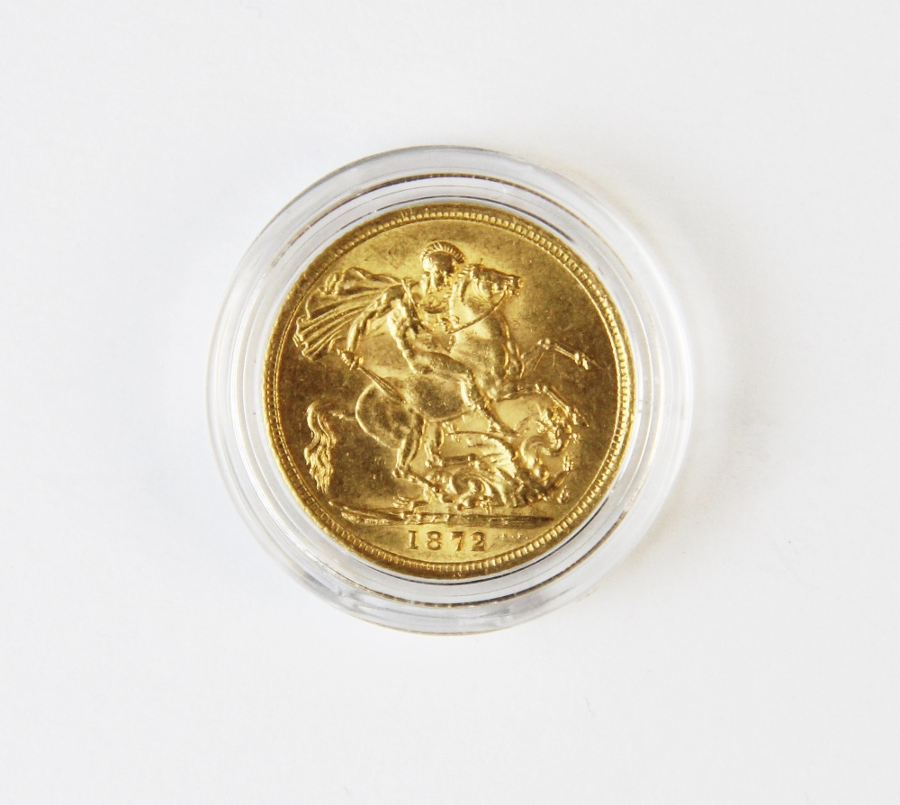 A Victorian sovereign dated 1872, weight 7.8g - Image 2 of 2