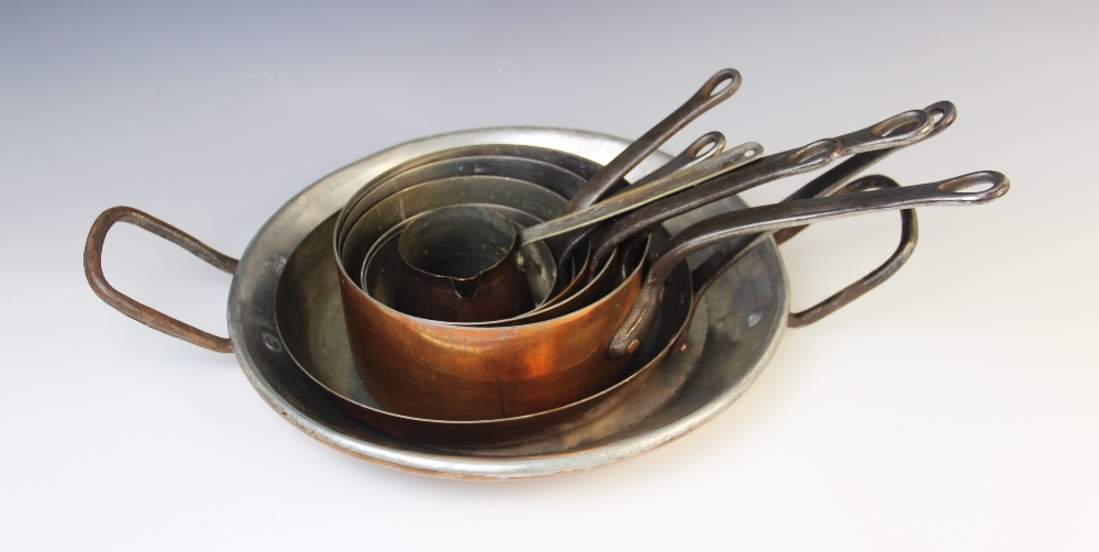 A selection of 19th century and later copper pans comprising; a graduated set of five saucepans, a - Image 2 of 2